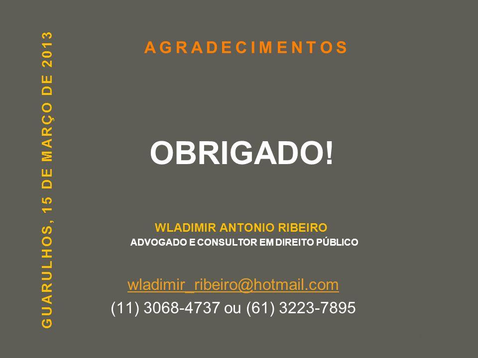 WLADIMIR ANTONIO RIBEIRO ADVOGADO E CONSULTOR EM DIREITO PÚBLICO