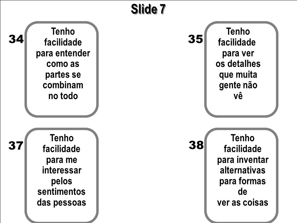 Slide 7 34 35 37 38 Tenho facilidade para entender como as partes se