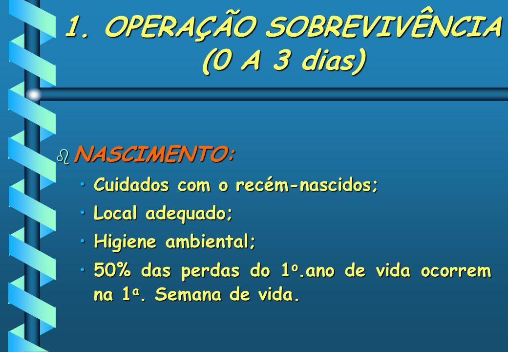 1. OPERAÇÃO SOBREVIVÊNCIA (0 A 3 dias)