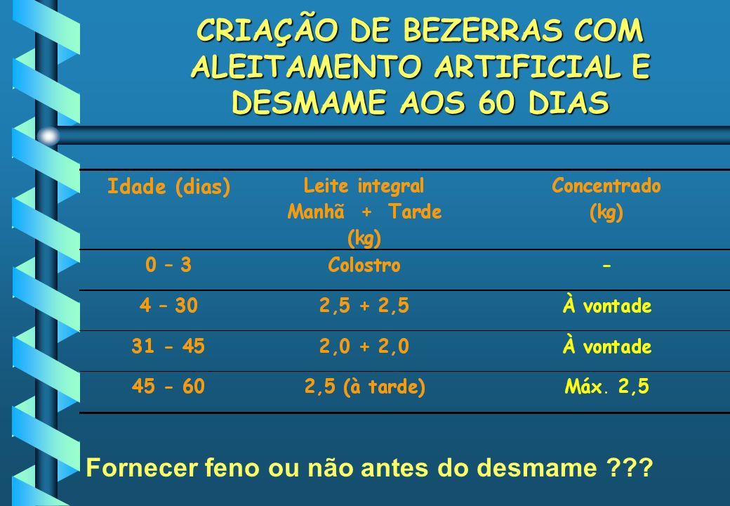 CRIAÇÃO DE BEZERRAS COM ALEITAMENTO ARTIFICIAL E DESMAME AOS 60 DIAS