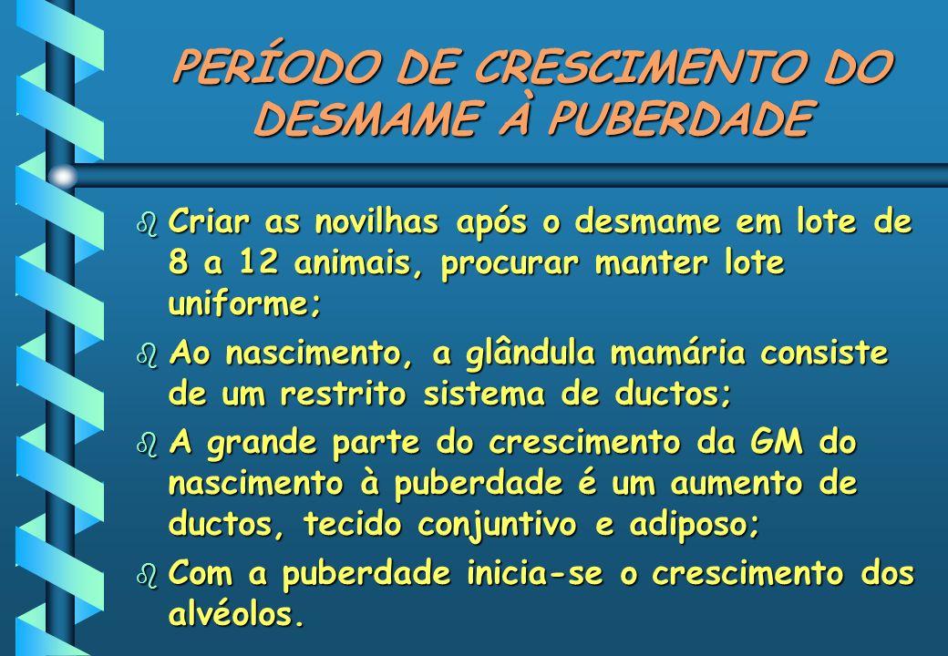 PERÍODO DE CRESCIMENTO DO DESMAME À PUBERDADE