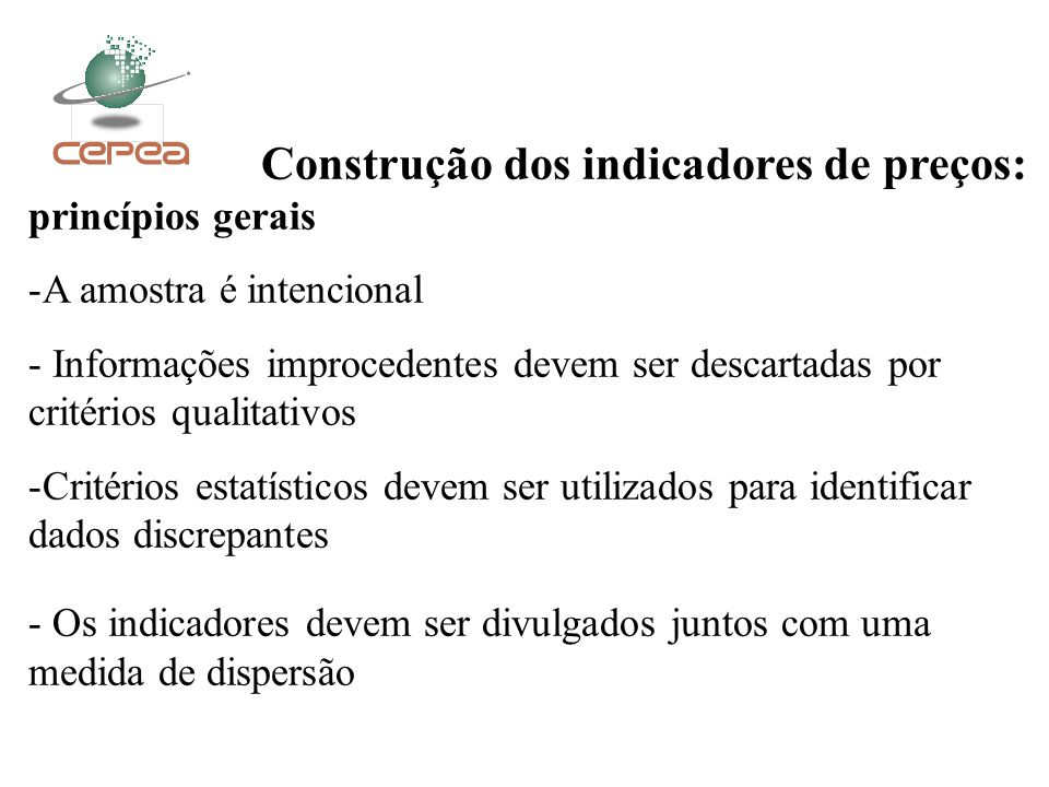 Construção dos indicadores de preços: princípios gerais