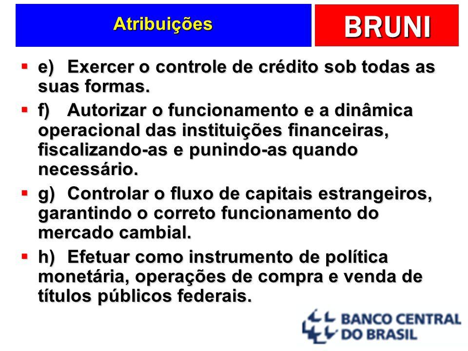 Atribuições e) Exercer o controle de crédito sob todas as suas formas.