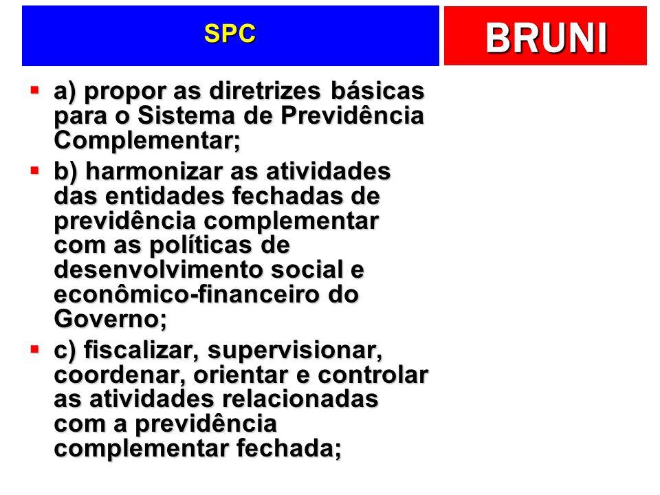 SPC a) propor as diretrizes básicas para o Sistema de Previdência Complementar;