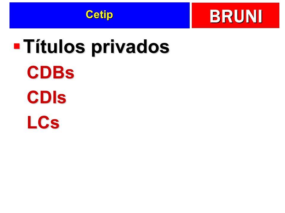 Cetip Títulos privados CDBs CDIs LCs