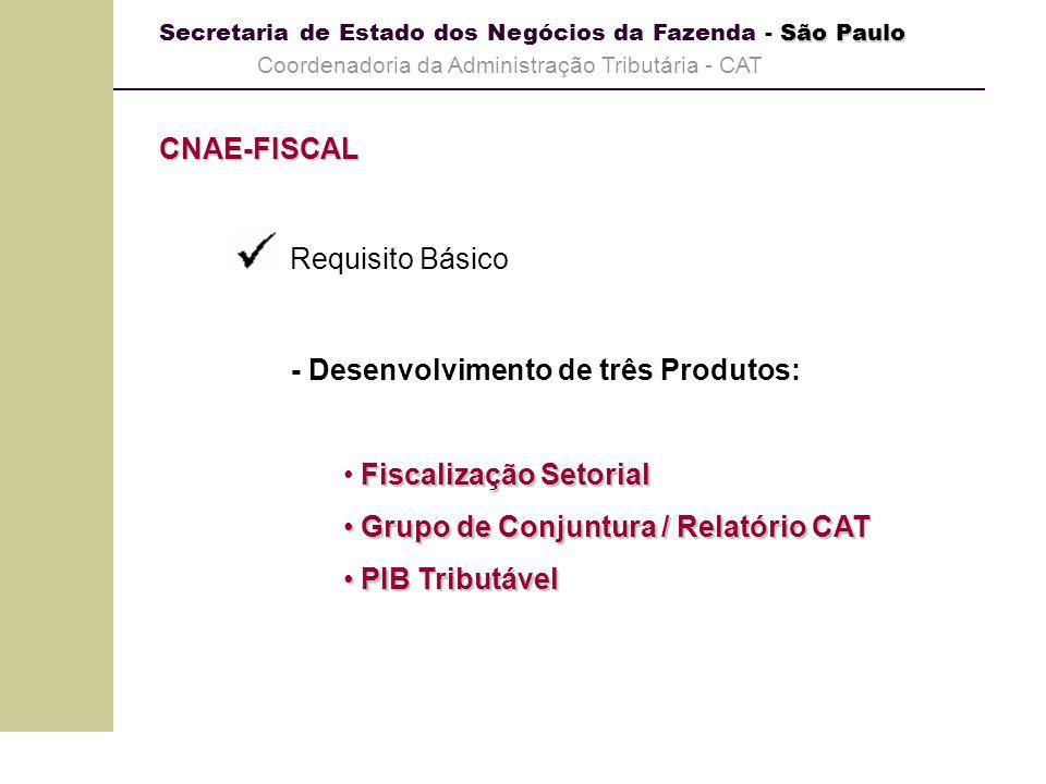 CNAE-FISCAL Requisito Básico. - Desenvolvimento de três Produtos: Fiscalização Setorial. Grupo de Conjuntura / Relatório CAT.