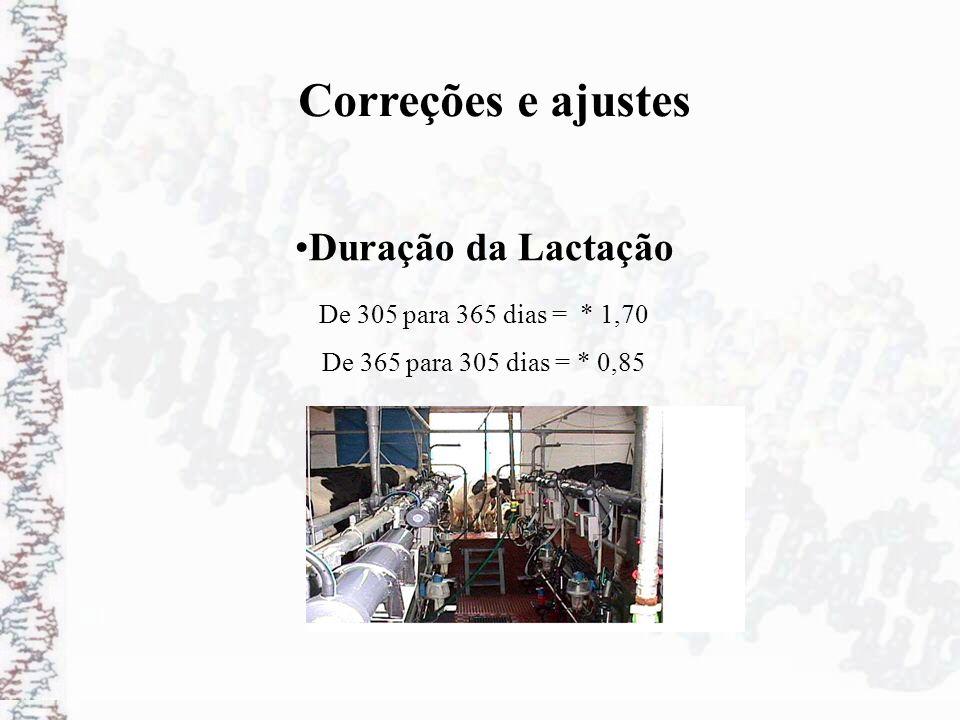 Correções e ajustes Duração da Lactação De 305 para 365 dias = * 1,70