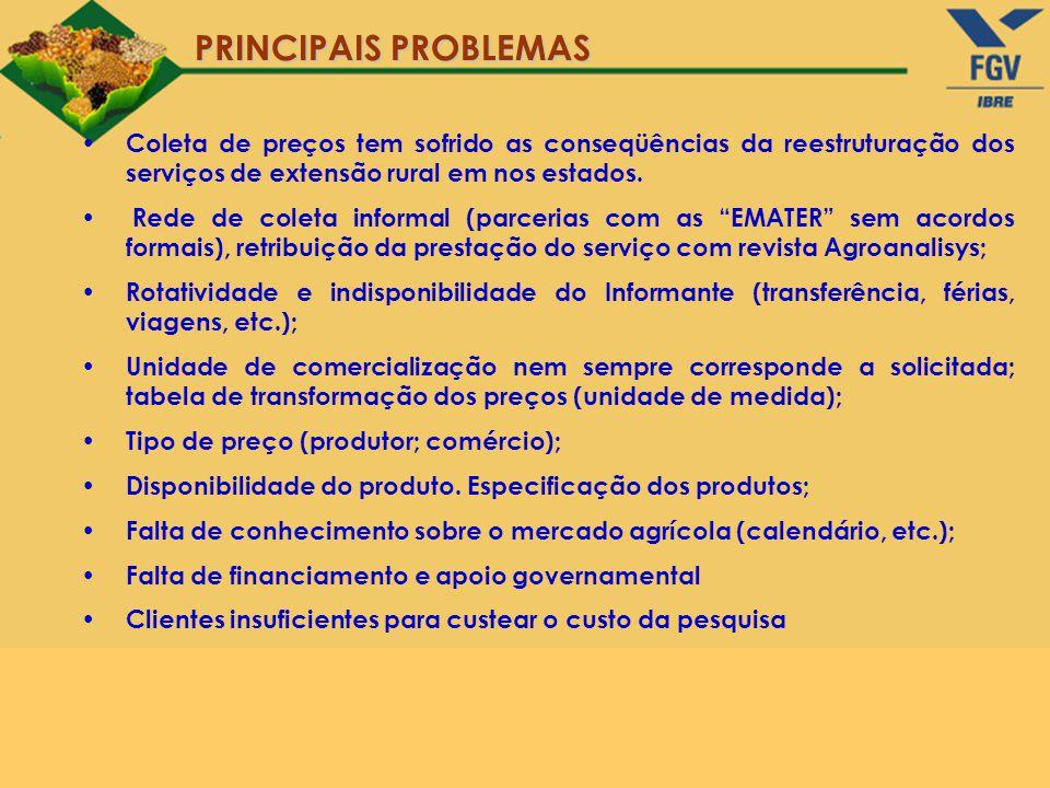 PRINCIPAIS PROBLEMAS Coleta de preços tem sofrido as conseqüências da reestruturação dos serviços de extensão rural em nos estados.
