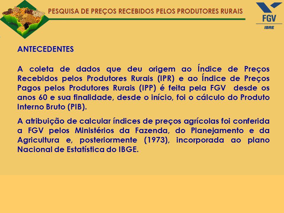 PESQUISA DE PREÇOS RECEBIDOS PELOS PRODUTORES RURAIS