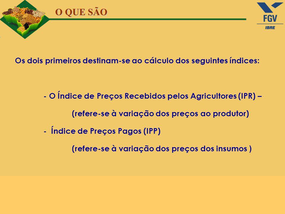O QUE SÃO Os dois primeiros destinam-se ao cálculo dos seguintes índices: - O Índice de Preços Recebidos pelos Agricultores (IPR) –