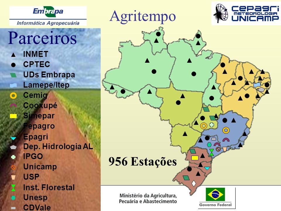 Parceiros Agritempo 956 Estações INMET CPTEC UDs Embrapa Lamepe/Itep