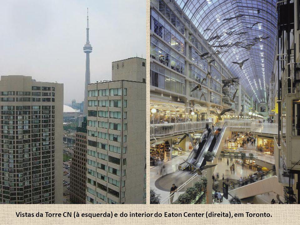 Vistas da Torre CN (à esquerda) e do interior do Eaton Center (direita), em Toronto.
