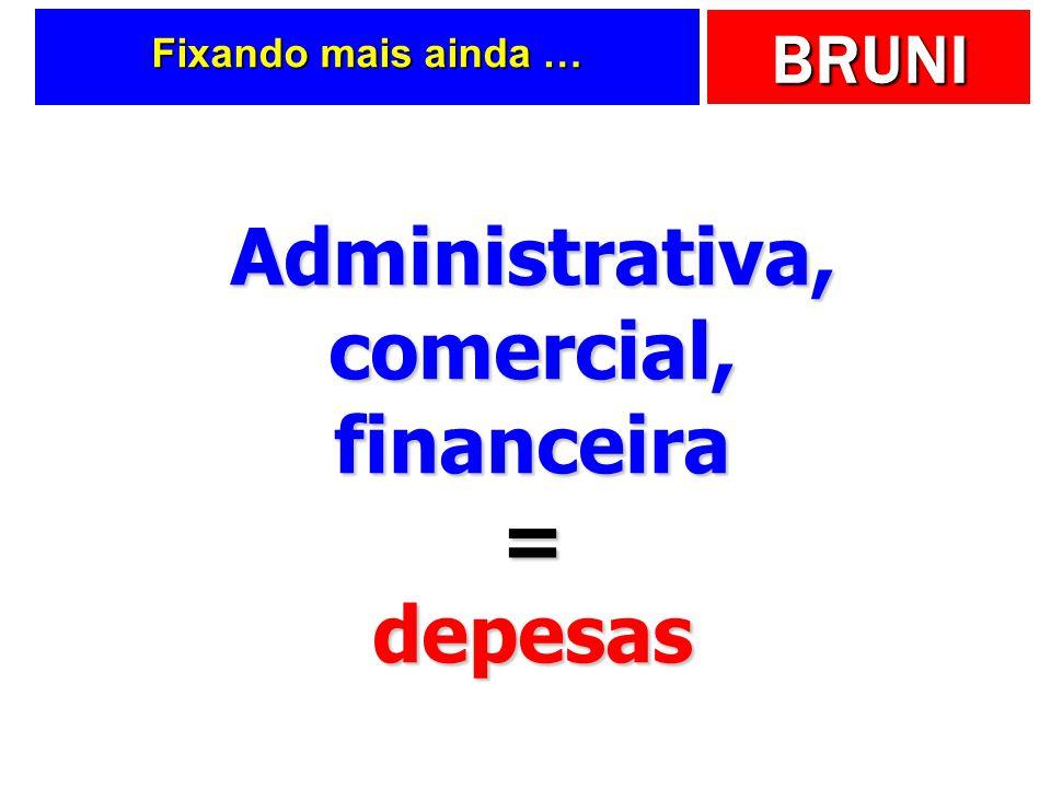 Administrativa, comercial, financeira = depesas