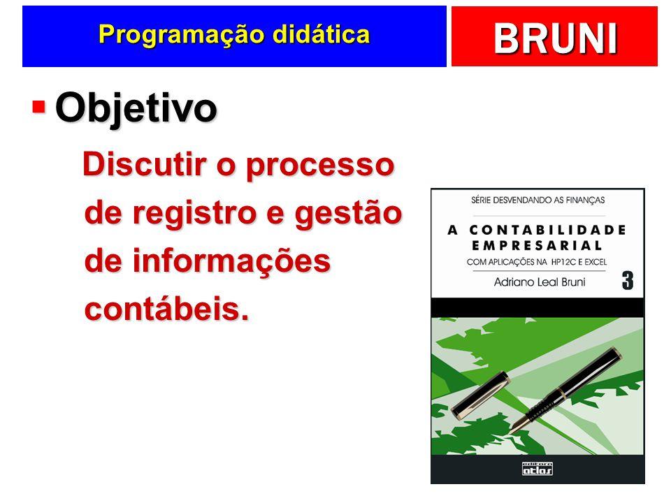 Programação didática Objetivo Discutir o processo de registro e gestão de informações contábeis.