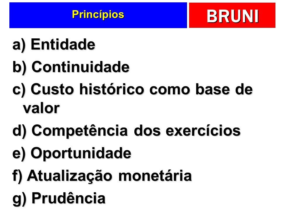 c) Custo histórico como base de valor d) Competência dos exercícios