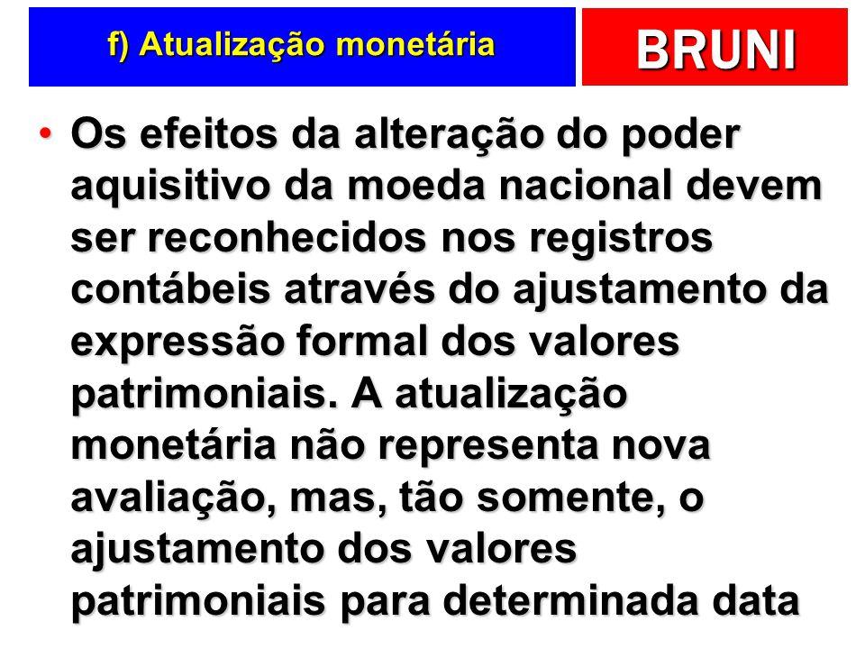 f) Atualização monetária