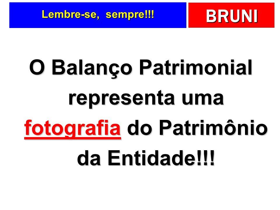 Lembre-se, sempre!!! O Balanço Patrimonial representa uma fotografia do Patrimônio da Entidade!!!
