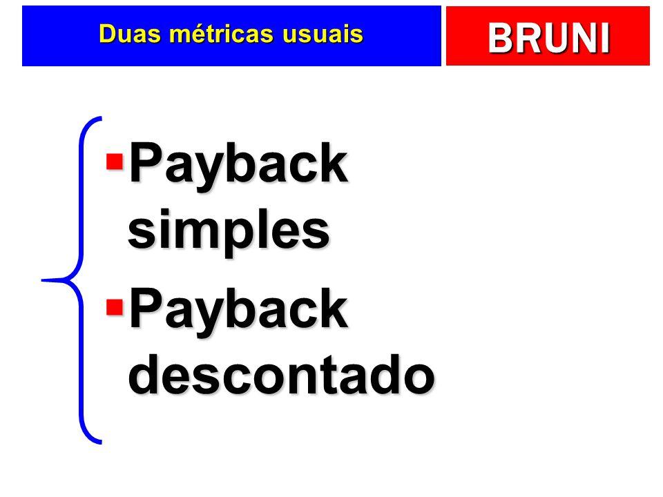 Duas métricas usuais Payback simples Payback descontado