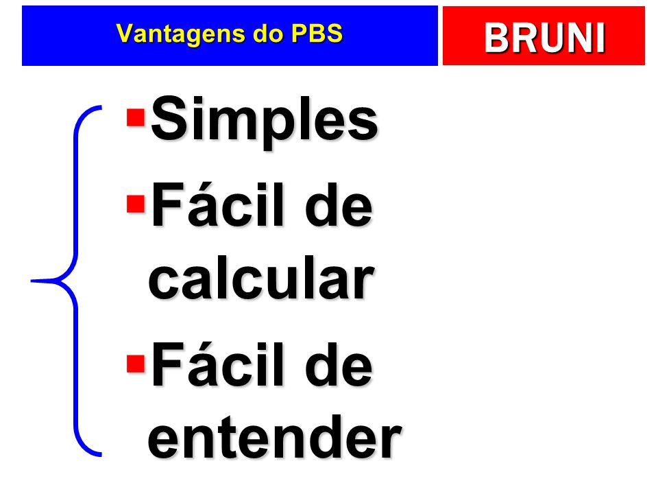 Vantagens do PBS Simples Fácil de calcular Fácil de entender
