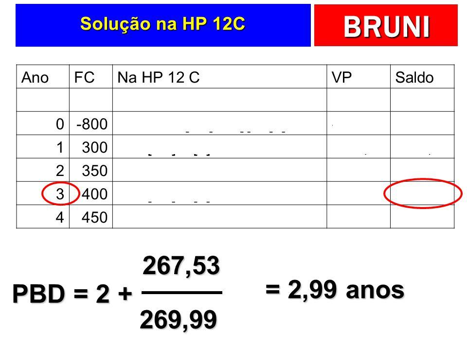 267,53 = 2,99 anos PBD = 2 + 269,99 Solução na HP 12C Ano FC