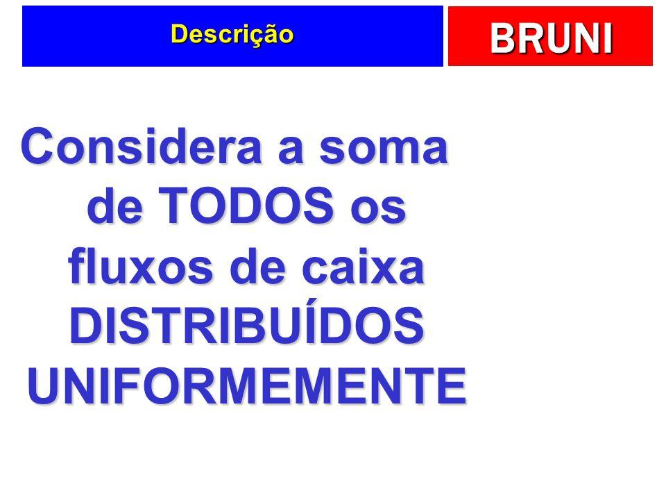 Descrição Considera a soma de TODOS os fluxos de caixa DISTRIBUÍDOS UNIFORMEMENTE