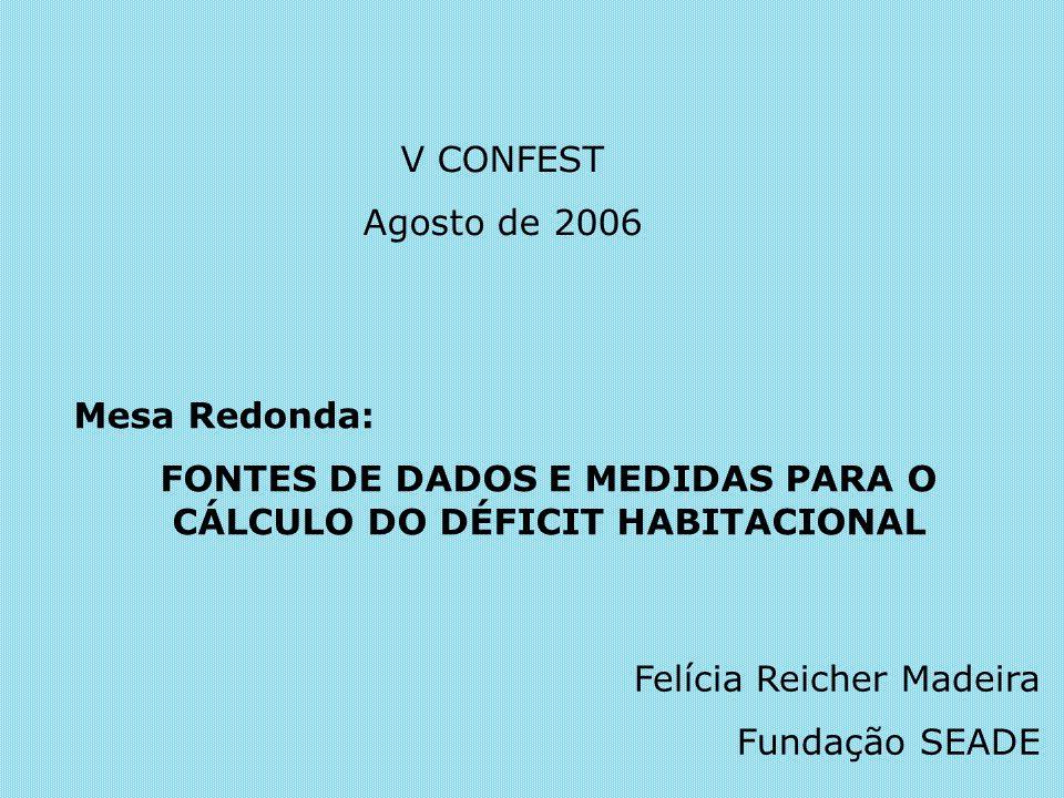 FONTES DE DADOS E MEDIDAS PARA O CÁLCULO DO DÉFICIT HABITACIONAL