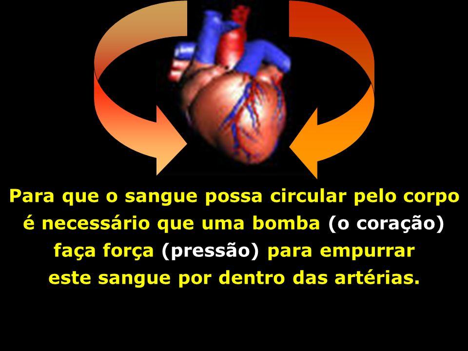 Para que o sangue possa circular pelo corpo é necessário que uma bomba (o coração) faça força (pressão) para empurrar este sangue por dentro das artérias.