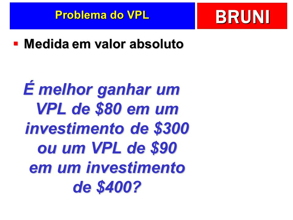 Problema do VPL Medida em valor absoluto.