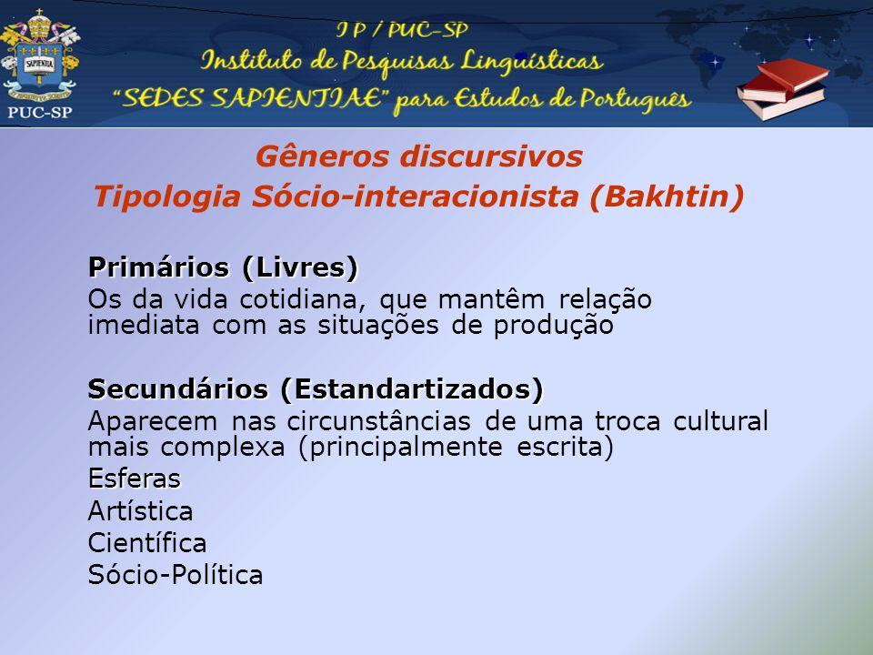 Gêneros discursivos Tipologia Sócio-interacionista (Bakhtin)