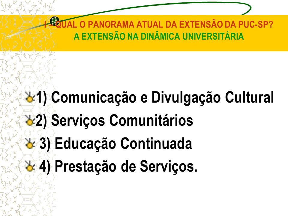 1) Comunicação e Divulgação Cultural 2) Serviços Comunitários