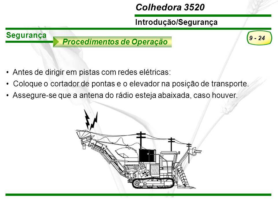Segurança Procedimentos de Operação. Antes de dirigir em pistas com redes elétricas: