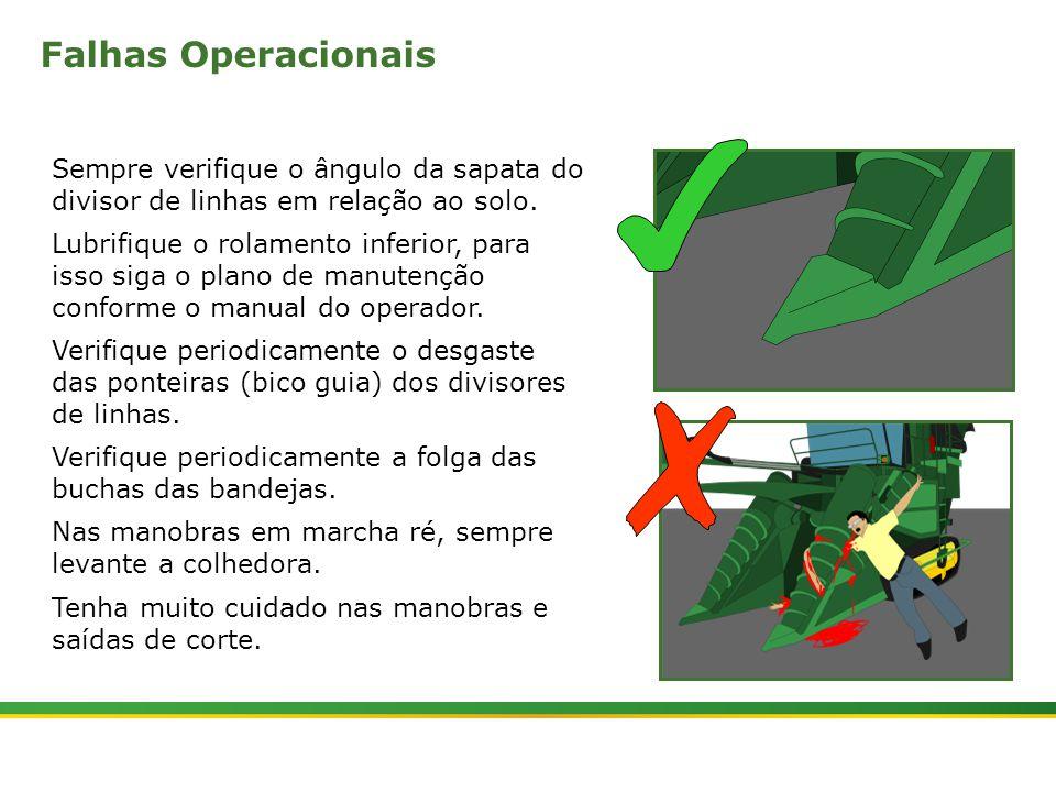 Falhas Operacionais Sempre verifique o ângulo da sapata do divisor de linhas em relação ao solo.