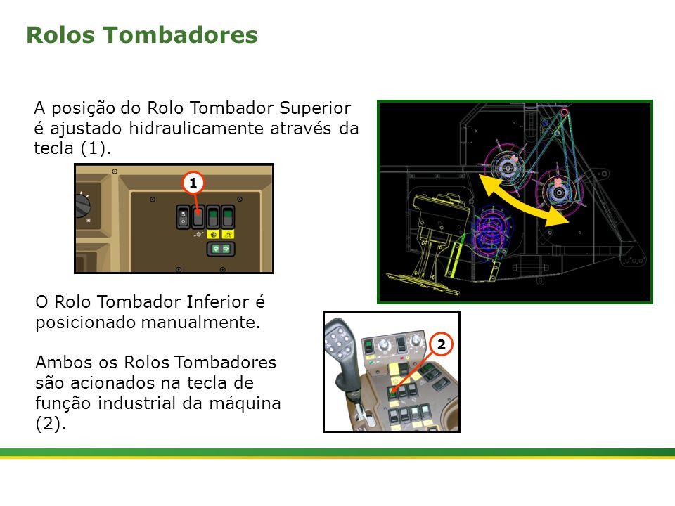 Rolos Tombadores A posição do Rolo Tombador Superior é ajustado hidraulicamente através da tecla (1).