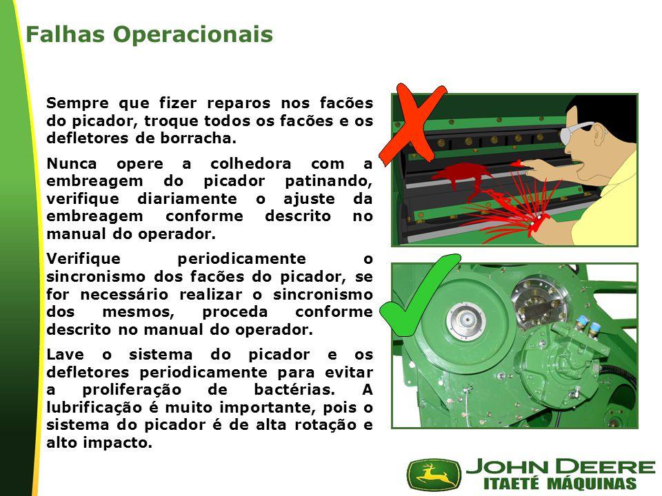Falhas Operacionais Sempre que fizer reparos nos facões do picador, troque todos os facões e os defletores de borracha.