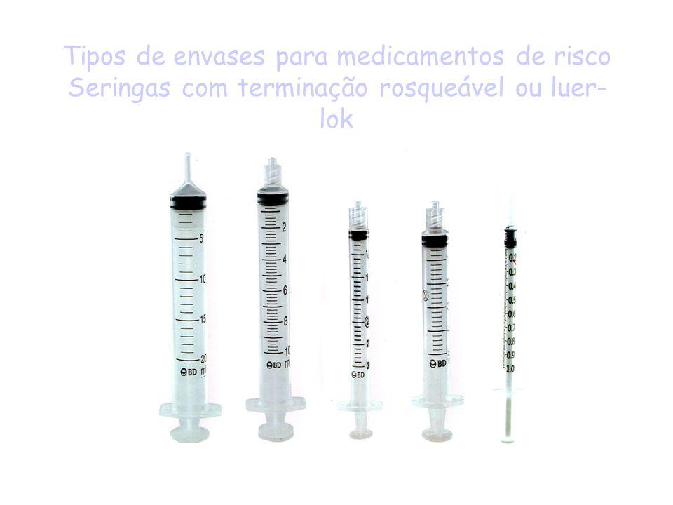 Tipos de envases para medicamentos de risco Seringas com terminação rosqueável ou luer-lok