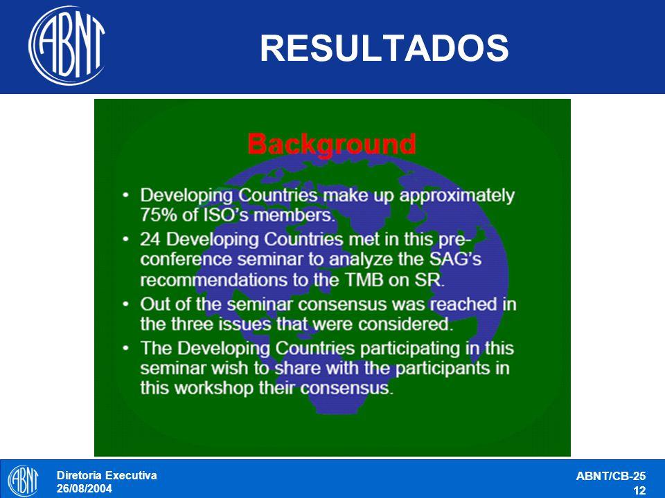 RESULTADOS Diretoria Executiva 26/08/2004 ABNT/CB-25 12