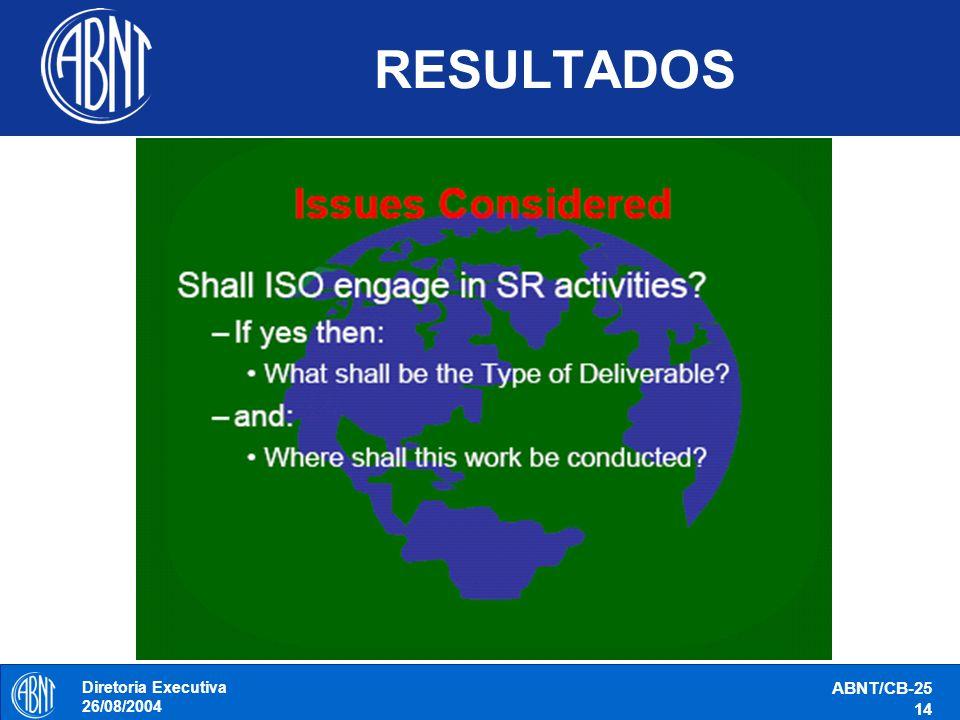 RESULTADOS Diretoria Executiva 26/08/2004 ABNT/CB-25 14
