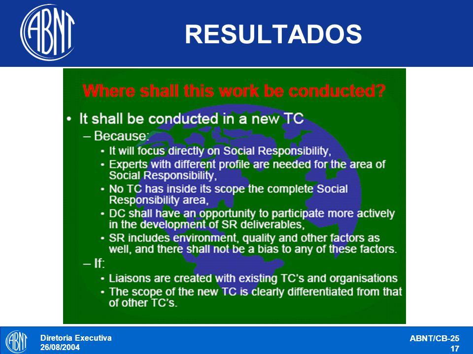 RESULTADOS Diretoria Executiva 26/08/2004 ABNT/CB-25 17