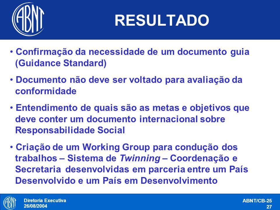 RESULTADO Confirmação da necessidade de um documento guia (Guidance Standard) Documento não deve ser voltado para avaliação da conformidade.