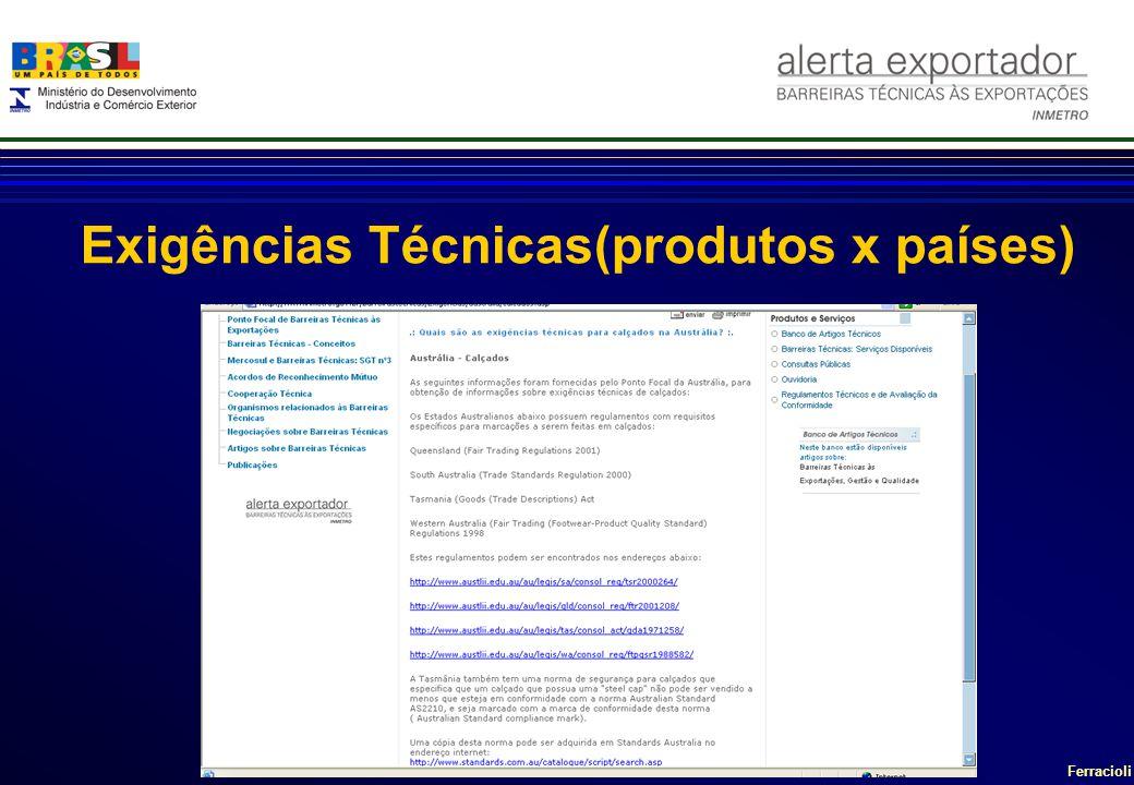 Exigências Técnicas(produtos x países)