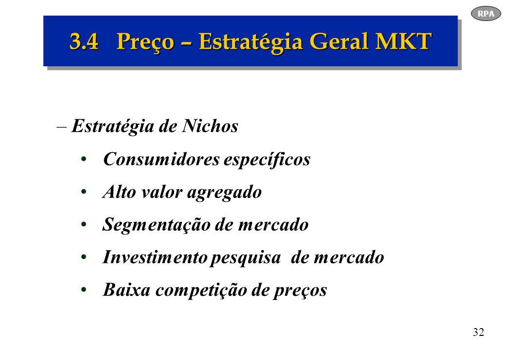 3.4 Preço – Estratégia Geral MKT