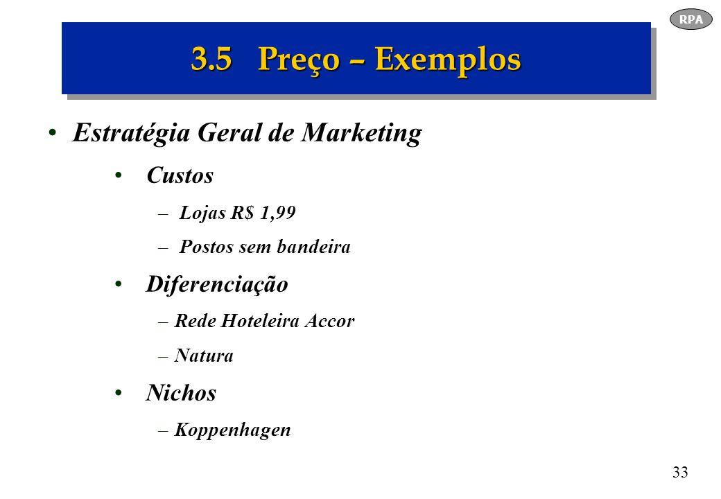 3.5 Preço – Exemplos Estratégia Geral de Marketing Custos