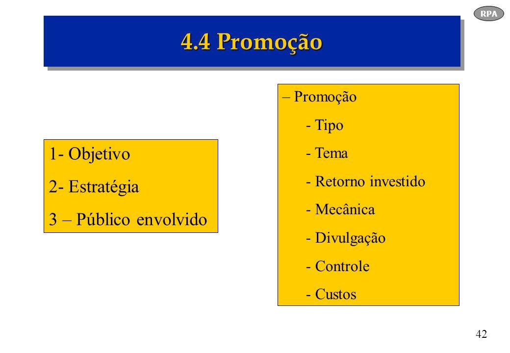 4.4 Promoção 1- Objetivo 2- Estratégia 3 – Público envolvido