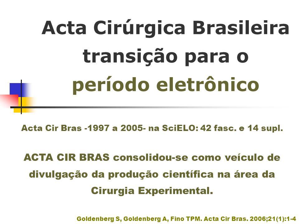 Acta Cirúrgica Brasileira transição para o período eletrônico