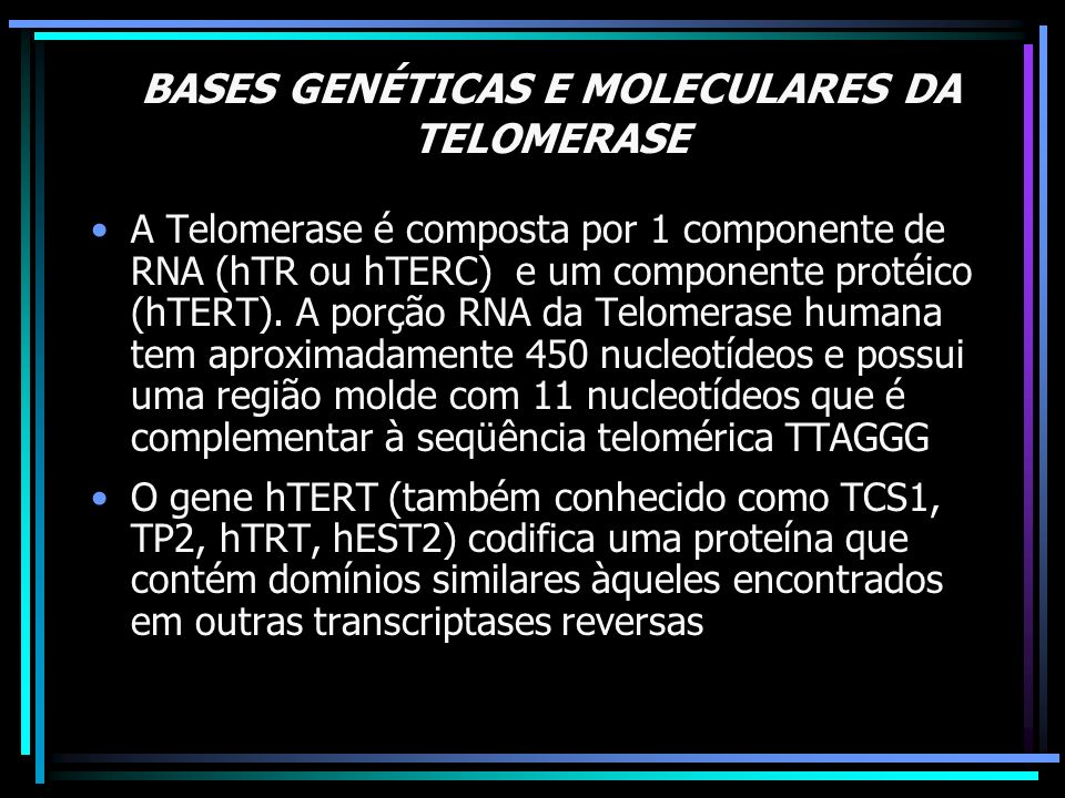 BASES GENÉTICAS E MOLECULARES DA TELOMERASE