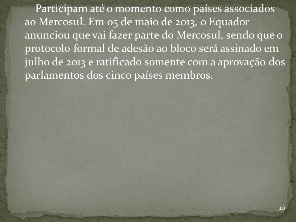 Participam até o momento como países associados ao Mercosul