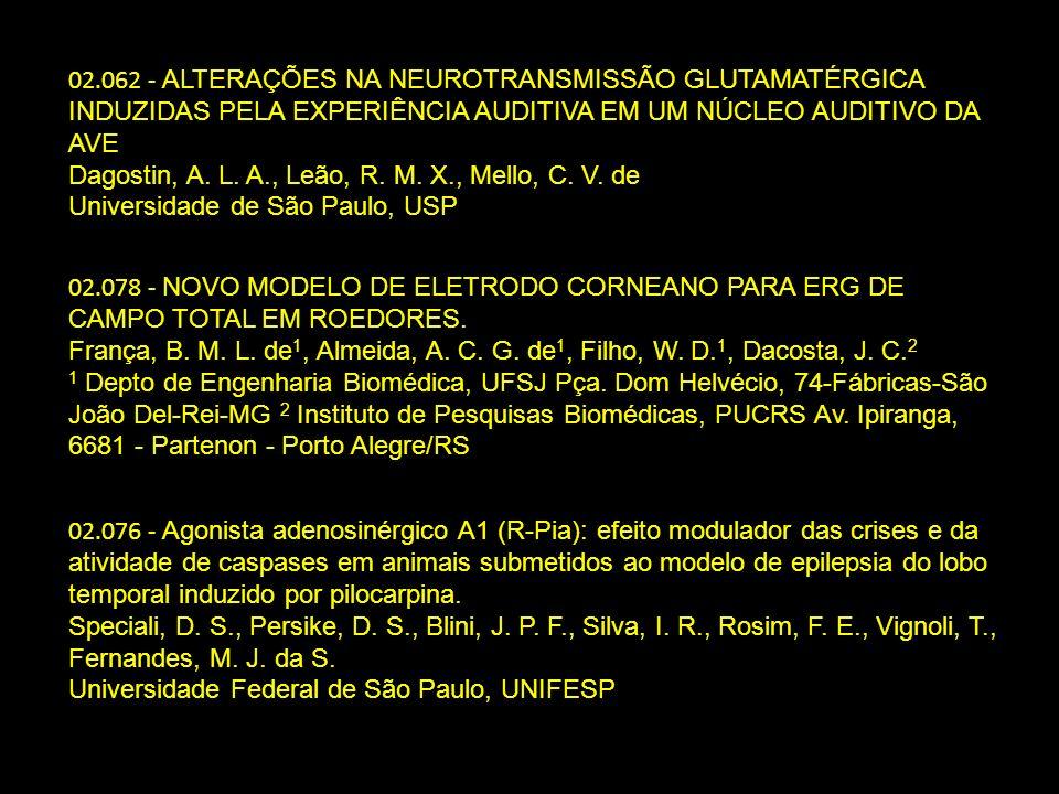02.062 - ALTERAÇÕES NA NEUROTRANSMISSÃO GLUTAMATÉRGICA INDUZIDAS PELA EXPERIÊNCIA AUDITIVA EM UM NÚCLEO AUDITIVO DA AVE