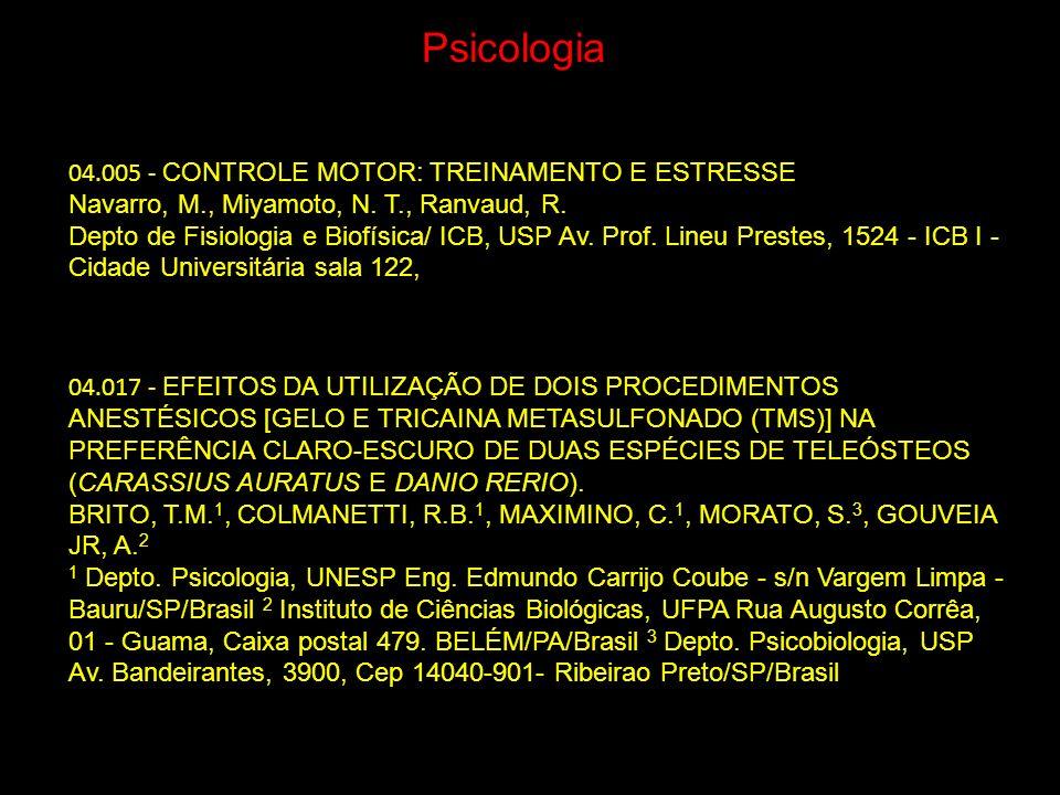 Psicologia 04.005 - CONTROLE MOTOR: TREINAMENTO E ESTRESSE