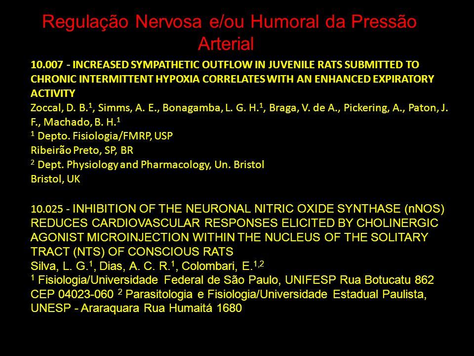 Regulação Nervosa e/ou Humoral da Pressão Arterial