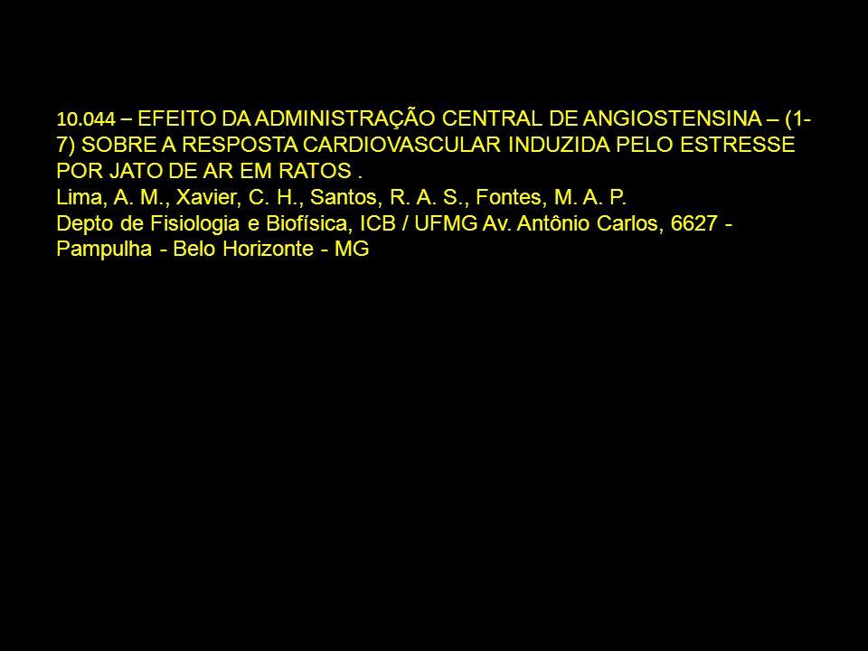 10.044 – EFEITO DA ADMINISTRAÇÃO CENTRAL DE ANGIOSTENSINA – (1-7) SOBRE A RESPOSTA CARDIOVASCULAR INDUZIDA PELO ESTRESSE POR JATO DE AR EM RATOS .